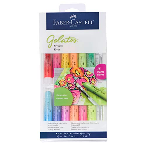 Faber-Castell Gelatos Colors Set, Brights - Water Soluble Pigment Crayons - 15 Bright Colors
