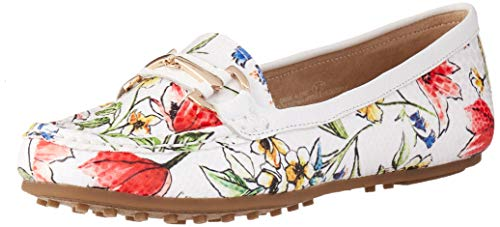 Aerosoles Women's Along Driving Style Loafer, White Floral, 10.5 M US