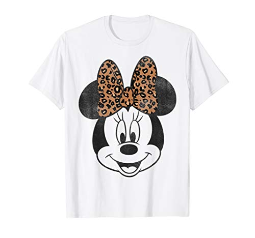 Disney Mickey And Friends Minnie Mouse Leopard Bow T-Shirt