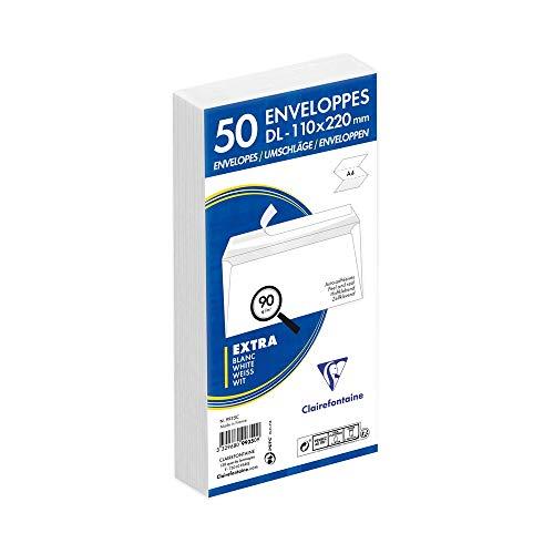 Clairefontaine 9935C - Un paquet de 50 enveloppes blanches auto-adhésives avec fond gris 11x22 cm 90g sous film