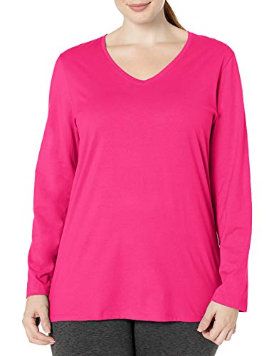 Just My Size Women's Plus Size Vneck Long Sleeve Tee, Sizzling Pink, 3X