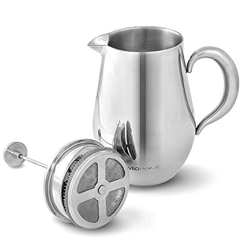 VeoHome - Kolbenkaffeemaschine - Unzerbrechlich und hält den Kaffee dank seiner doppelten Edelstahlschale (groß (1 Liter)) lange heiß