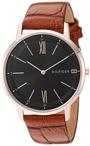 Tommy Hilfiger Relógio masculino casual de quartzo de aço inoxidável com pulseira de couro, marrom, 19,3 (modelo: 1791516)