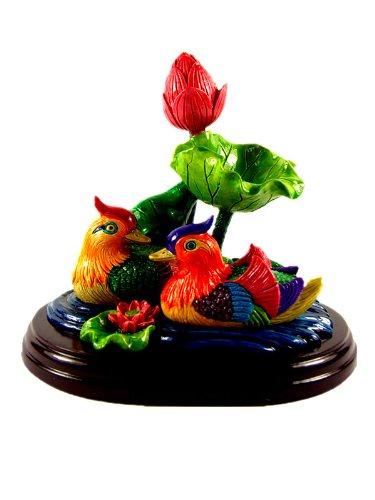 Feng Shui Mandarin Ducks Yuan Yang Swimming in a Lotus...