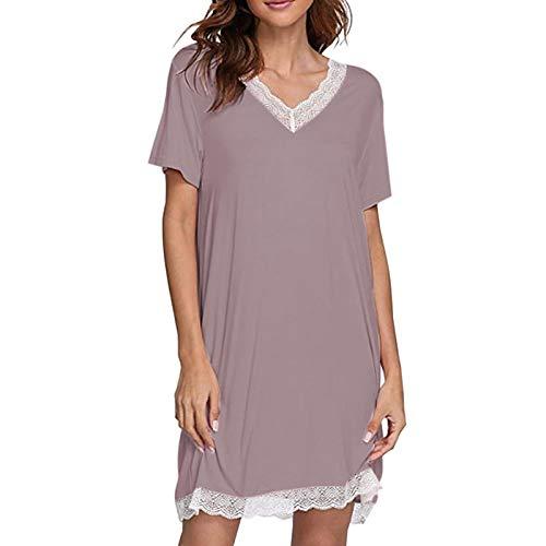 Nachthemd Frauen Nachthemden Baumwolle Modal Sommer Solid Lace Splice V-Ausschnitt Kurzarm Nachtkleid Unterwäsche Frauen Nachtschlaf Shirts