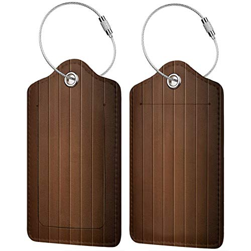 FULIYA Set of 2 Secure Luggage Tags High-end Leather Suitcase Luggage Tags Business Card Holder/Travel ID Bag Tag,Boards, Surface, Stripes, Wooden