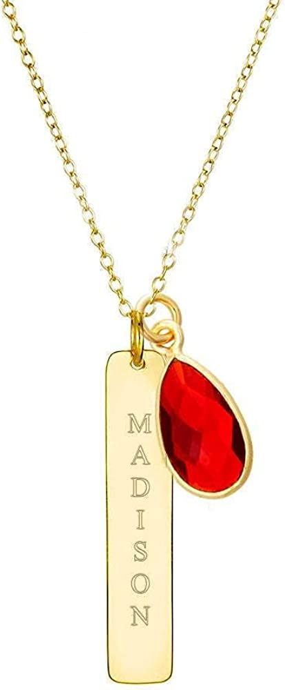 Custom Engraved Gold 55% OFF Regular store Plated Vertical Pers Bar Necklace Name with