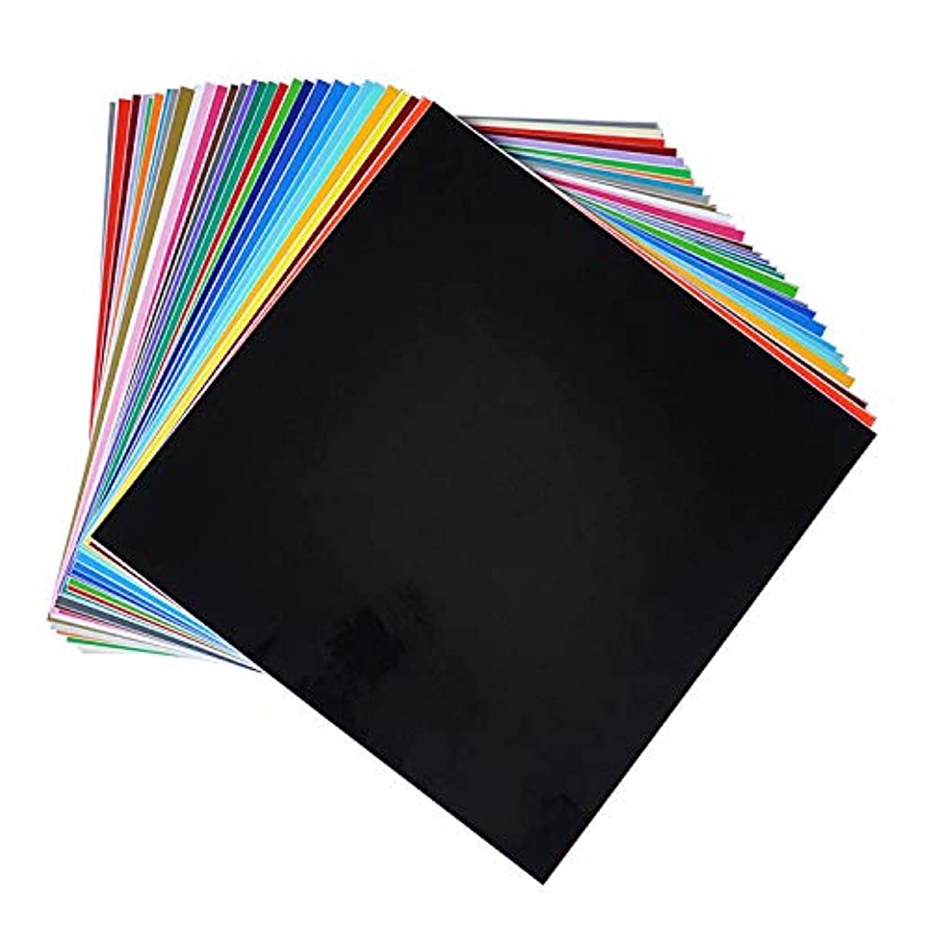 "HUAXING DECO Permanent Self Adhesive Backed Vinyl Sheets - 12"" X 12"" - 65 Assorted Matt Colors for Cricut, Silhouette Cameo & Crafting Machines"