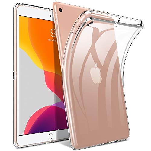 IVSO Clear Cover Case voor iPad 10.2 2019, Slim Clear Soft TPU Cover Case voor iPad 7e generatie 2019 10,2 inch, Clear