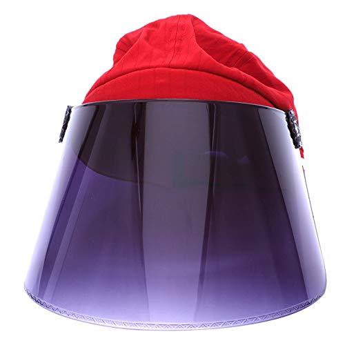 RETYLY UV Parasol Cap été Nouveau Cou Et Le Visage Parasol Cap Plein Air Vélo Réglable Pare-Soleil Cap Rouge