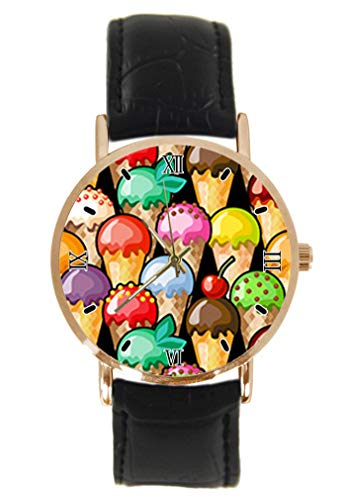 Reloj de Pulsera con diseño Abstracto de Bolas de Helado, clásico, Unisex, analógico, de Cuarzo, Caja de Acero Inoxidable, Correa de Cuero