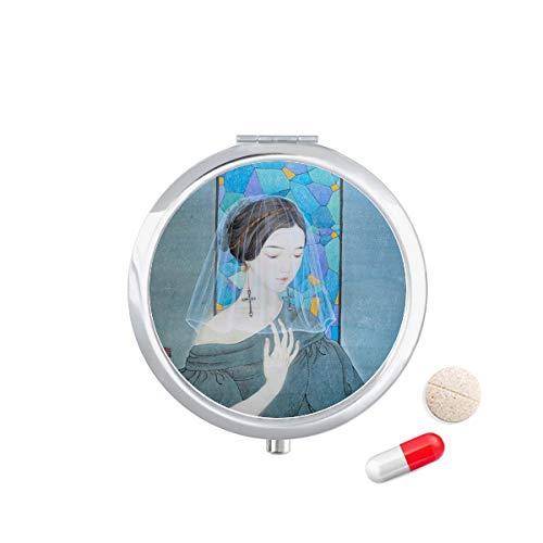 DIYthinker Blue Beauty Witte Garen Chinese Schilderen Reizen Pocket Pill Case Medicine Drug Opbergdoos Dispenser Spiegel Gift