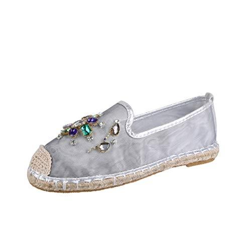 Alpargatas de Mujer Moda Rhinestone Decoración Oro Plata Respirable Ahuecado Malla Slip On Low Top Flats Summer Ladies Casual Shoes