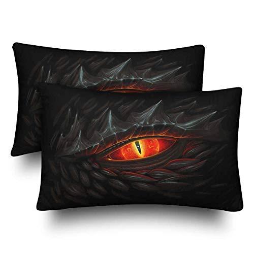 Juego de 2 fundas de almohada rectangulares para decoración de sofá, dormitorio, diseño de dragón negro con ojos rojos brillantes de 20 x 30