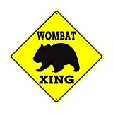 QSLM Wombat Xing Crossing Wildlife Animal Caution Crossing - Cartel cuadrado de hojalata (30 x 30 cm), diseño de animales