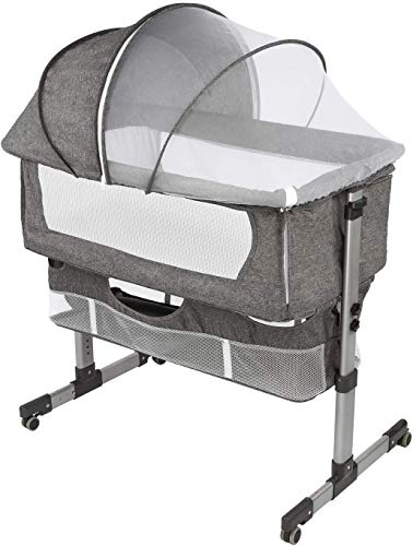 Bedside Sleeper Bedside Crib Baby Bassinet 3 in 1 Travel Baby Crib Baby Bed with Breathable Net Adjustable Portable Bed for Infant/Babydeep Grey