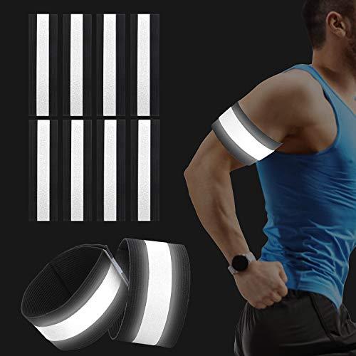 Sinwind 8er Set Reflektorband Reflektierendes Armband, Reflektorband Reflektierendes Sicherheitsband Reflektor Elastisches Armband Sicherheit für Outdoor Sports Fahrrad Jogging Laufen (Black)