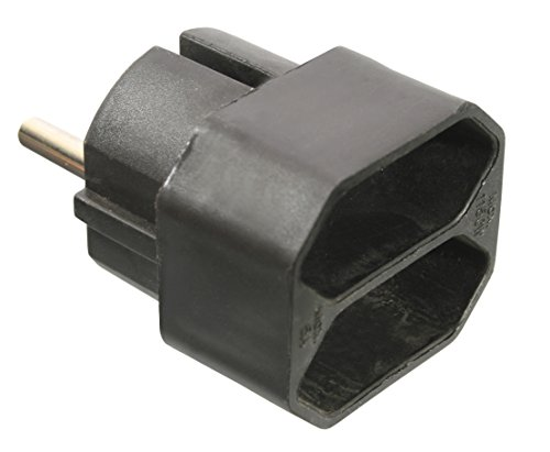 as - Schwabe 48212 Eurostecker 2-Fach, schwarz, 230 V