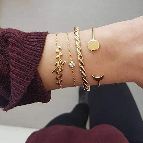 Jovono Simple Hollow Hoop Open Armband endete breite Armreif Manschette mit Blatt und Mond für Frauen und Mädchen (4 Stück) (Gold)