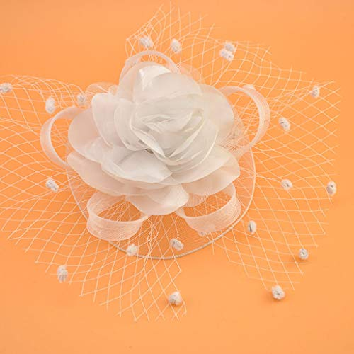 Niumanery Womens Kids Girl Mesh Veil Hat Hair Clip Elegant Ribbon Big Flower Solid Color Fascinator Small Plush Wave Point Bridal Wedding Hairpins 17