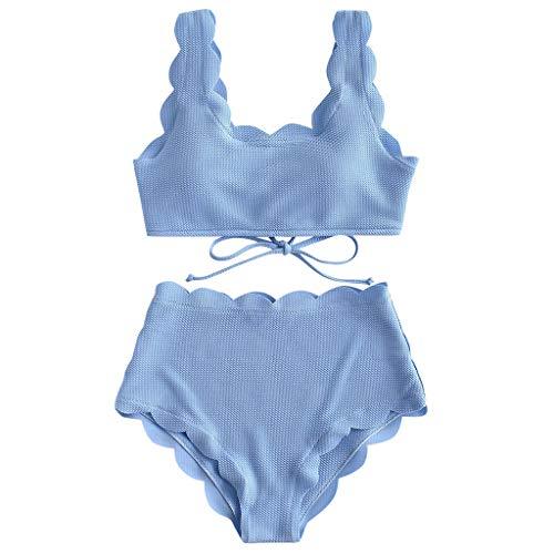 YWLINK Elegant MäDchen String Bikini Welle Rand Frauen Zweiteilige Push-Up Tankini-Sets Beachwear Damen Badeanzug(Blau,S)