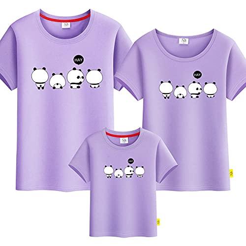 SANDA T-Shirt Familia,Kindergarten Servicio de Clase Padre-niño Vestido Camiseta Tarjeta Panda Familia Tres Cuatro Hembra Femenina Madre e Hijo Ropa Completa Completa-púrpura_Papá s
