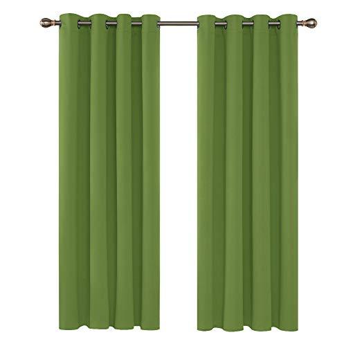 Deconovo Vorhang Blickdicht Ösen Vorhang Kinderzimmer Thermogardine Ösen 175x140 cm Apfelgrün 2er Set