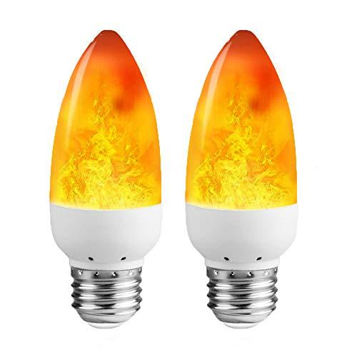 LEDERA LED Flame Light Bulb (2 Pack), E26 LED Flickering Flame Effect Light, 1300K Emulation Candelabra Bulb for Decoration