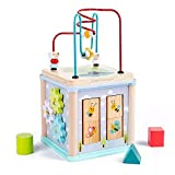 Univocean Multi-Purpose Wooden Activity Cube Treasure Box for Kids with Shape Matching, Flop, Gear Game