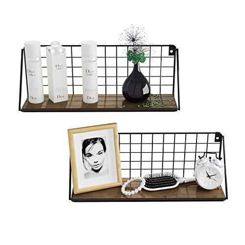 BAMFOX Floating Shelves Wall Mounted Set of 2, Rustic Bamboo Wall Storage Shelves for Photo Frames, Decorative Items,Used for Bedroom, Living Room, Bathroom, Kitchen, Office and More,16.1x4.2inch