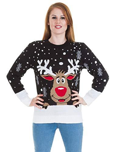 Love My Fashions Donna Natale Saltatore a Maglia Santa Pupazzo di Neve Rudolf Renna Print Merry Xmas Fiocco di Neve Maglieria Lunga Manica Crew Neck Regolare Fit Pullover Maglione