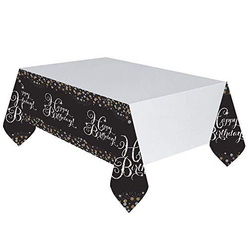 Amscan 9900549 - Tischdecke Happy Birthday, 1 Stück, Größe 120 x 180 cm, Gold, Kunststoff, wasserabweisend, Sparkling, Glitzer, Weiß mit Motiven in Schwarz-Gold, Alles Gute zum Geburtstag, Konfetti