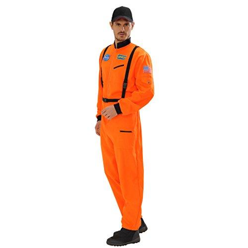 Astronauten Kostüm orange Overall Astronautenkostüm S 48 Space Herrenkostüm Astronaut Astronautenanzug Karnevalskostüme Herren Ganzkörper Weltraumanzug Verkleidung Weltall Faschingskostüm