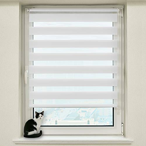 Hunter Mason Doppelrollo Klemmfix Ohne Bohren (Weiss 90x210cm) Duo Rollo Transparentes und undurchsichtiges mit klemmträger Sonnenschutzrollo Fensterrollo für Fenster & Türen