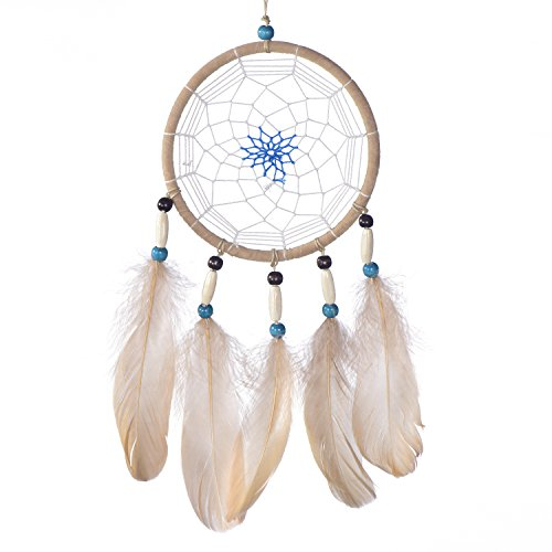 Traumfänger für gute Träume mit Perlen und echten Federn hellbraun Ø 14 cm