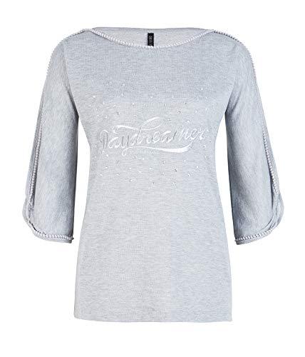 Chili Bang Bang   Hochwertiges Damen Sweatshirt in Grau mit Statement Stickerei und Glitzersteinen in Form von Sternen (M/L)