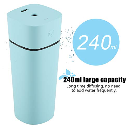 Humidificador de niebla fresca, 240 ml portátil USB recargable ultrasónico humidificador purificador de luz Noche difusor con mini ventilador para hogar oficina (Blue)