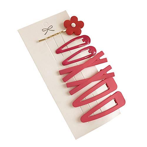 Sanwood 7pcs pinces à cheveux de fleur bobby pin sweet barrette épingle à cheveux décoration pour les femmes fille Rose Red
