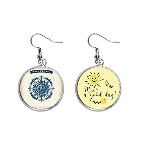 Compass Exploration Military Ocean Ear Drop Sun Flower Earring Jewelry Fashion
