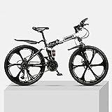 Folding Mountain Bike,Bicicleta Doble Absorción De Impactos Cruz-carreras De Velocidad En El País Estudiantes Masculinos Y Femeninos Bicicleta-Rueda de seis cuchillos negra y amarilla 24 velocidades