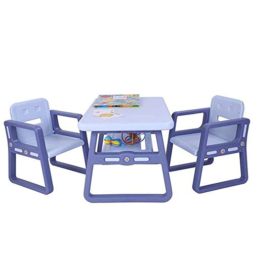 Kids Table and Chairs Set - Toddler Activity Chair Best for Toddlers Lego, Reading, Train, Art Play-Room (2 Childrens Seats with 1 Tables Sets) Little Kid Children Furniture Accessories (Purple)