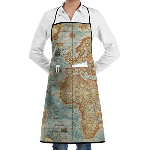 N\A Waterproof Hem Apron with Pocket 52cm 72cm, Unisex Apron Vintage World Map(Antique) 方