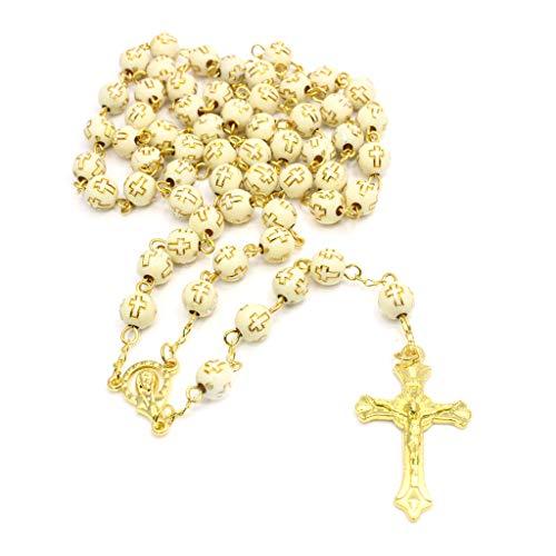 wuzhou handgemachte runde Kreuzperle Kruzifix Rosenkranz religiöse Jesus Halskette christliche Männer golden
