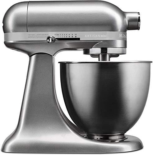 KitchenAid RKSM3311XSR Artisan Mini Series Tilt-Head Stand Mixer, 3.5 Quart, Silver (Renewed)