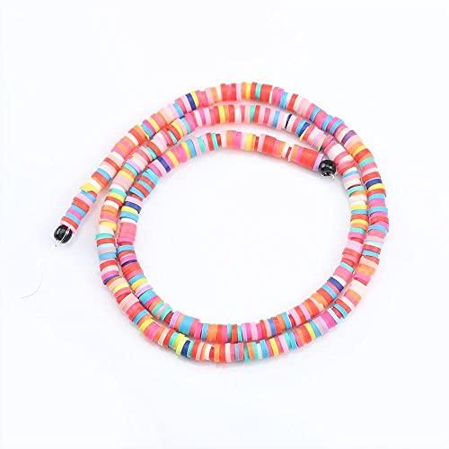 NTZ 4 mm 6 mm Polímero plano redondo Clay Beads CHIP DISCO SPACER suelto Cuentas hechas a mano para la joyería de bricolaje Hacer pulsera Encontrar color mezclado Yc427 ( Item Diameter : 6mmx1mm )