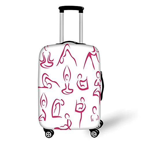 Travel Luggage Cover Suitcase Protector,Yoga,Doodle Style Women Figures Various Exercise Poses Workout Health Lifestyle Bodycare,Pink White,for Travel,L