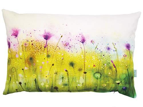 Wiesenblumen Kissen, Aquarell, bunt, Baumwolle, 40x60 cm Hülle, Blumen Motiv, Deko, Sofa, Garten