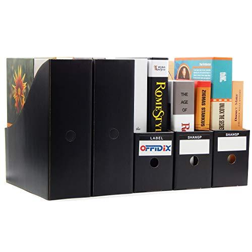 OFFIDIX Office 5 niveles Kraft Paper Desktop Storage Box Organizador de papel de documentos A4 para Home Office DIY Contenedor de papel contenedor de almacenamiento de archivos (Negro)