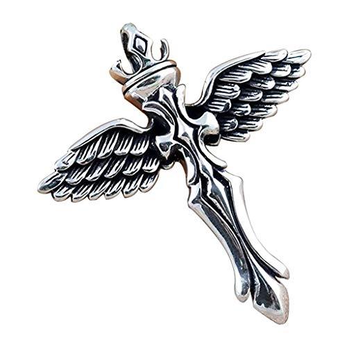 Collar con colgante de cruz de ángel de plata de ley 925, estilo vintage, color negro