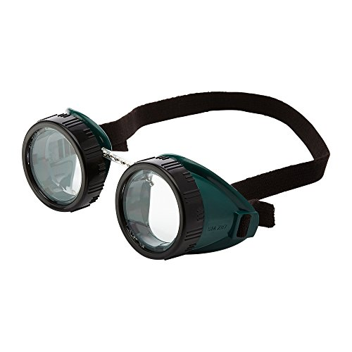 Sellstrom Eye Cup Protective Safety Goggle, 50 mm Clear Lens, Green Goggle Body, Black Adjustable Strap, S85110